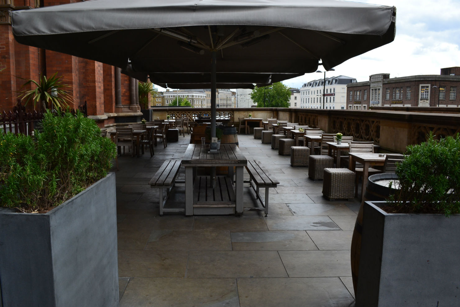 Useful and enormous: the terrace at the Sir john Betjeman. Photo: SE