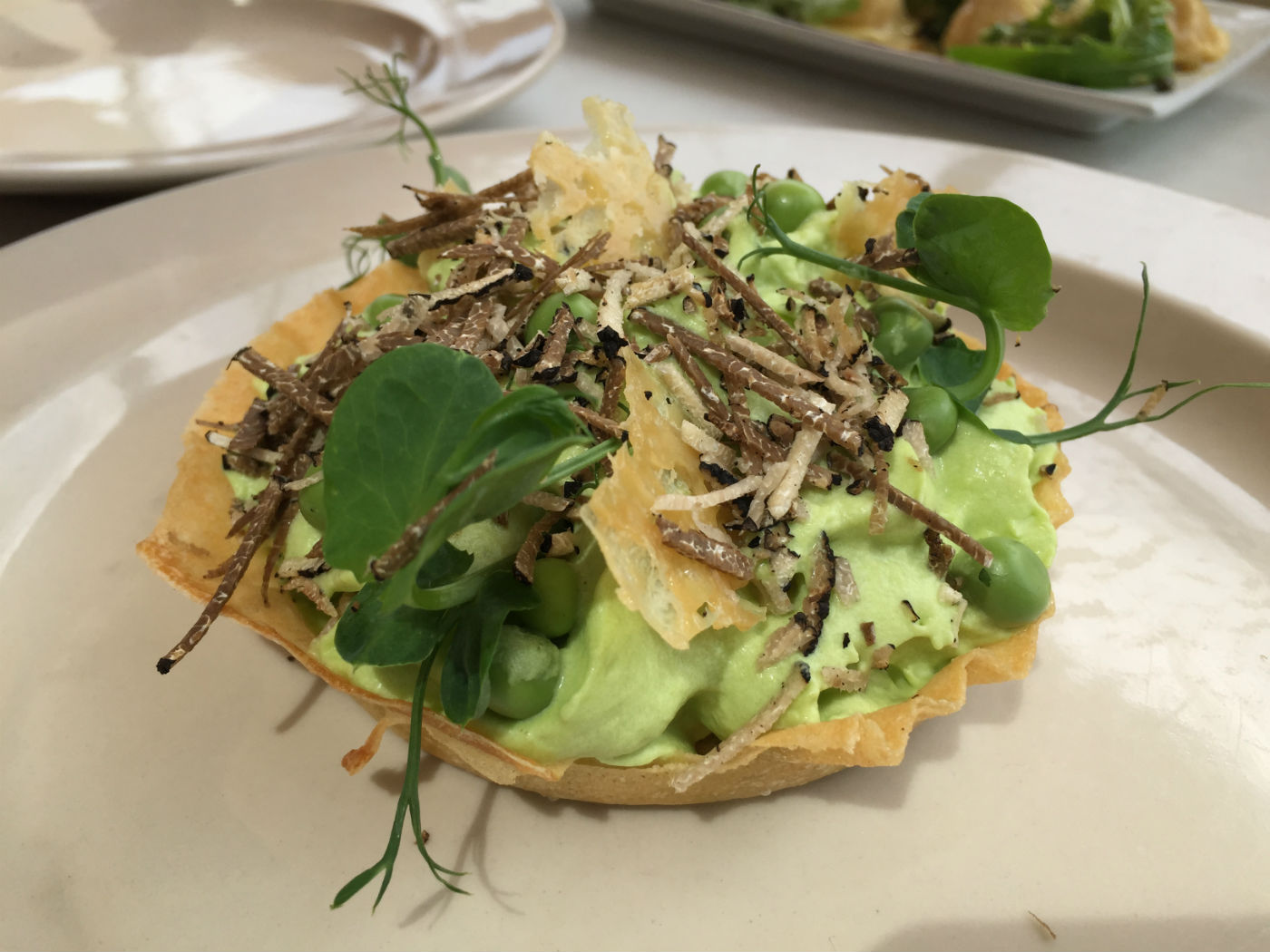 Pea tartlet. Lovely to look at. Photo: SE