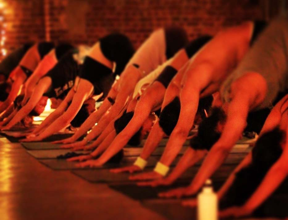 Downwards dogs on the 'dancefloor' at Dead Yogis Society