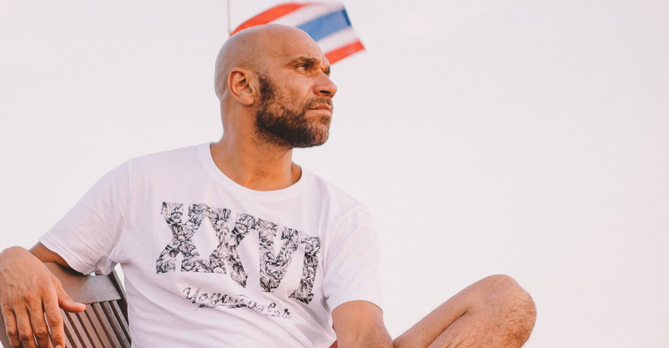 Goldie: sporting a tee from his Yogangster range