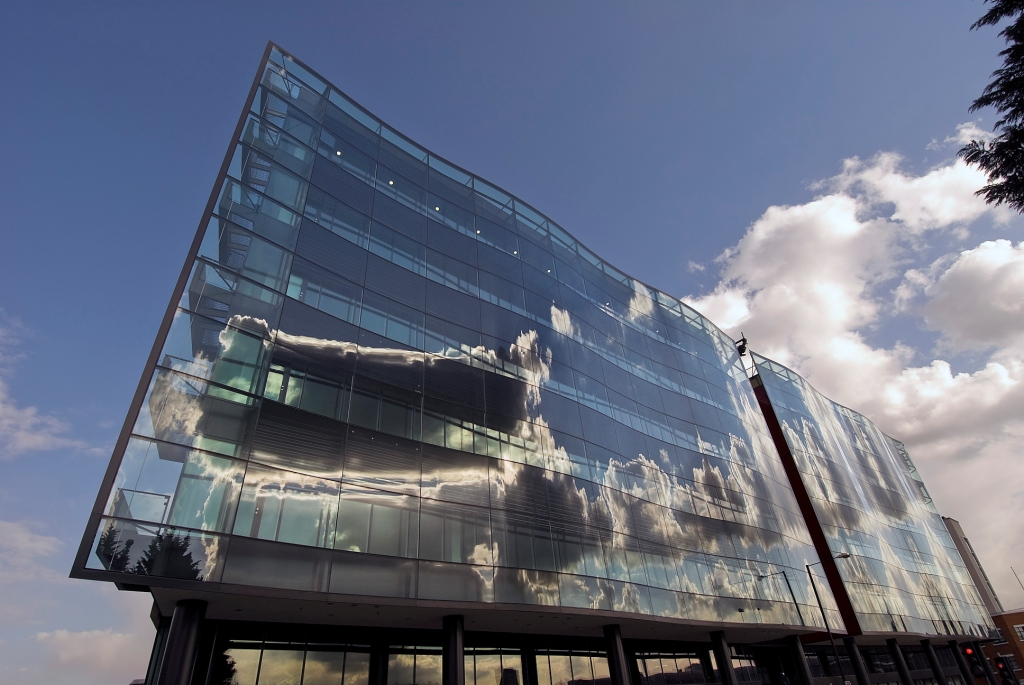 Afternoon clouds reflected on King's Place. Photo: PR