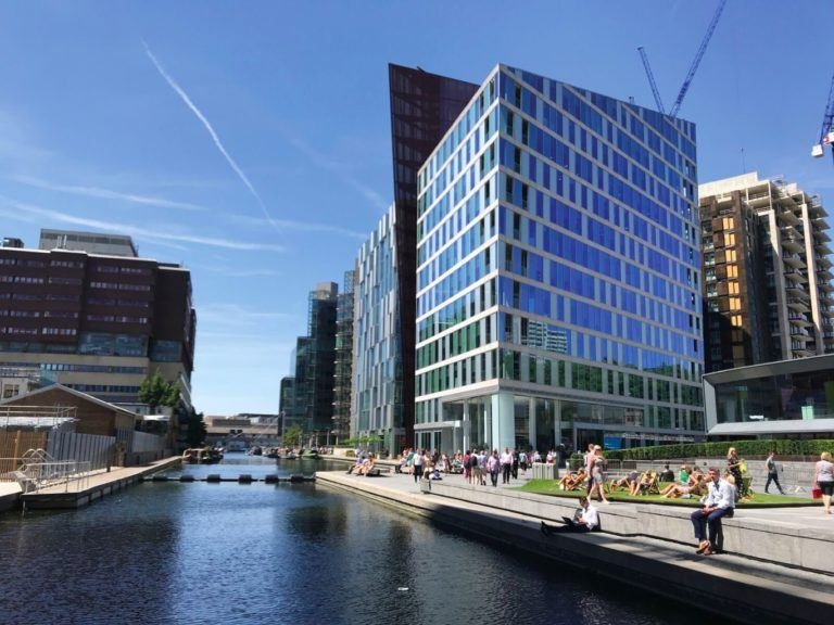 Paddington basin on a sunny day