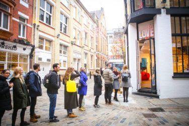 Choose Love queues outside the shop