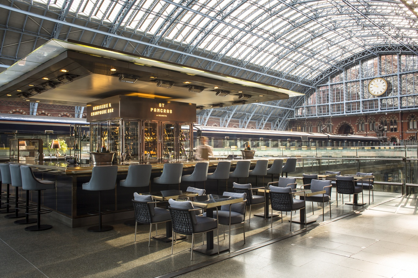 The champagne bar at Searcys bar in St Pancras. We drink a Tiffany & Co cocktail there