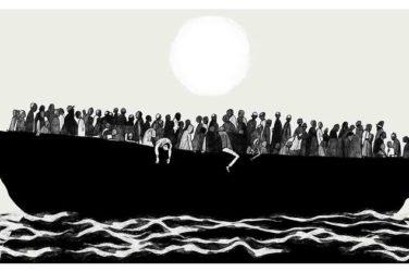 refugee boat drawn by David Foldari