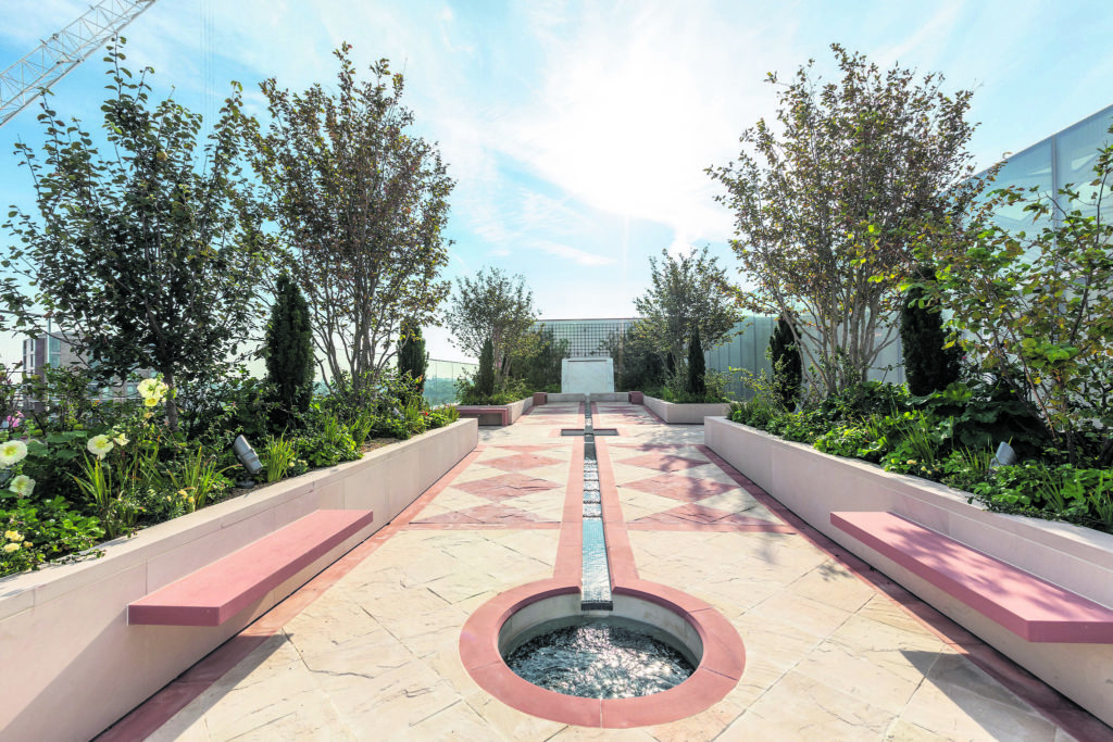 The water feature at Aga Khan Centre's Garden of Life