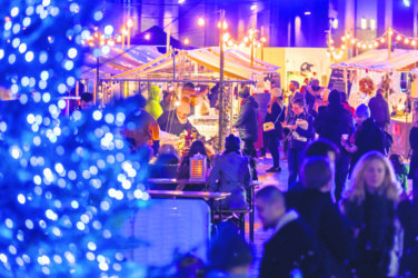Christmas at Canopy Market - stalls and festive lights at the market