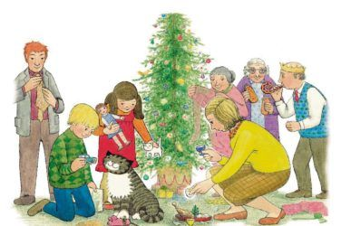 Mog the cat at Christmas with family 1976