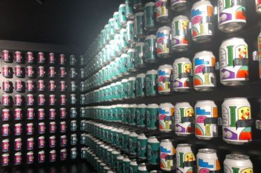 House of cans beer on walls